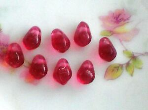 Vintage Beads Glass Drops Dangles Pink Teardrop Pomegranate Seeds  5x7mm #10B