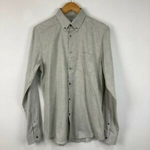 Reiss Mens Button Up Shirt Size S Small Grey Long Sleeve Collared Slim Fit