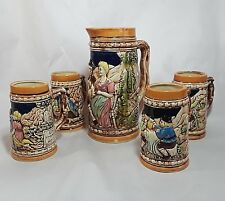 Vintage Beer Stein Pitcher and 4 Mug Set English Pub Scenes German Quotes Saying