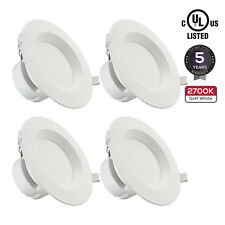4 PACK 6Inch LED Recessed Downlight Kit with J-Box, 9W (80W Equiv.) 2700K