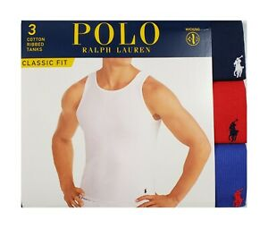 Polo Ralph Lauren Navy-Red-Blue Ribbed Moisture Wicking Classic Fit 3 Pack Tank
