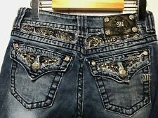 Miss Me Jeans Capri Size 26 x 20 Feather and Rhinestone Embellished Distressed