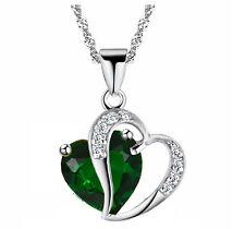 Smaragd dunkles grün & Silber Zwei Herzen Anhänger Kristall Halsband N343