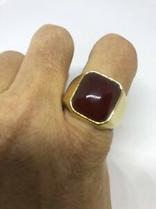 Vintage Golden Stainless Steel  Men's Genuine Carnelian Ring Size 13