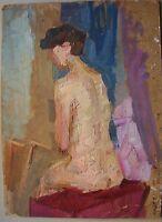 Russian Ukrainian soviet Oil Painting Impressionism female figure woman nude
