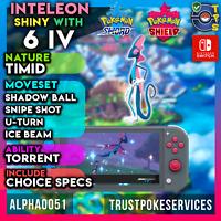 Inteleon Pokemon Sword Shield Shiny 6 IV | Timid | Torrent | Fast Delivery