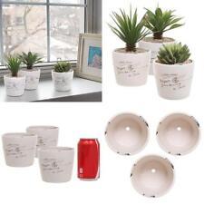 Ceramic Pot 4 inch White Garden and Home Decor Herb Planter Pots (Set of 3) New