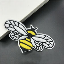 2× Bee Embroidery Iron Sew On Patch Badge Fabric Bag Clothes Craft DIY Applique