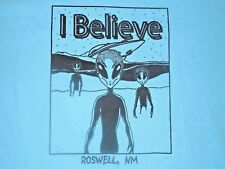 Roswell NM I Believe T-Shirt Alien Spaceship Crash Mens Large color baby blue