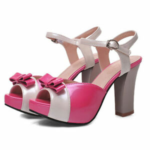 Ladies Platform Bow Sandals Thick Heel Ankle Strap Patent Leather High Heels