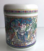YSL Parfum Rive Gauche Colorful Lady Floral Lidded Porcelain Vanity Canister Jar