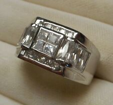 Men's Sterling Silver Modernist Deco Style Ring w CZ stones Size 11.5