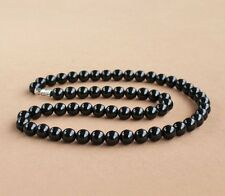 Round Beads Chain Necklace 18'' Fashion 8mm Black Agate Onyx Gemstone