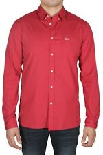 Lacoste Men's Shirt Long Sleeve Cotton Regular Fit Solid Poplin CH5027 XXB Red