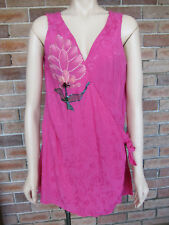 Pink Beaded Resort Style Wrap Top By Dolina ~ Size 18
