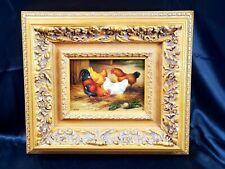 Old oil painting in gold Gilded Frame of Chickens English artist Stubbs 🐓