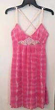 """Intimately """"Free People"""" Pink Tie-Dye Chemise Gown Adjustable Straps Sz M (8-10)"""