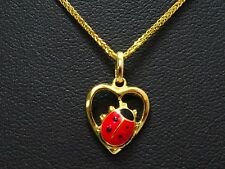 Anhänger pendant 333 GOLD pendentif 8 Karat Herz heart Marienkäfer 8k oro or