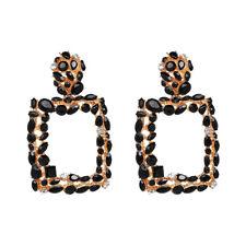 Square Crystal Statement Drop Earrings Luxury Elegant For Women Wedding Jewelry