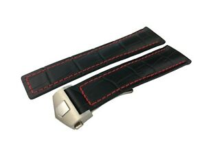 22mm Black Croco/Red Genuine Leather Strap/Band fit Tag Heuer Carrera Watch