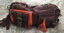 CECILE JEANNE Two Tone Orange/Brown Leather JOSEPH Shoulder Bag Purse Sac-NEW