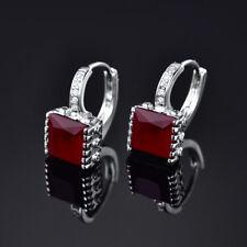Women 18K White Gold Filled Princess Red Sapphire CZ Vogue Hoop Dangle Earrings