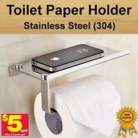 Stainless Steel Toilet Paper Roll Phone Holder Wall Mount Shelf -buy2 get $5 off