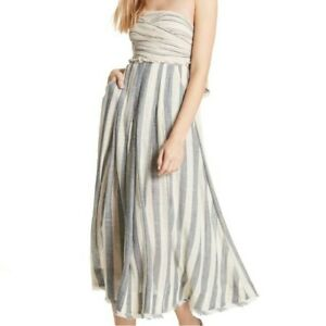 Free People Stripe Me Up Strapless Midi Dress size M