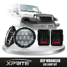 "Xprite 7"" 75W CREE LED Headlights DRL with Clear Taillight For 07-17 Jeep JK"