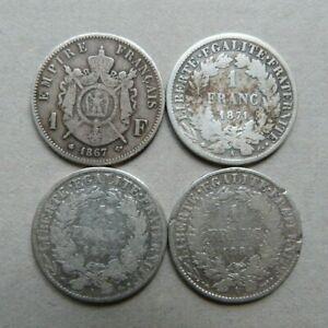Lot 4 pièces de 1 Franc NAPOLEON III (1867) et CÉRES (1871, 1872, 1881) - ARGENT