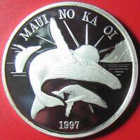 1997 HAWAII MAUI $1 TRADE DOLLAR 1oz SILVER PROOF HUMPBACK WHALE SUN VOLCANO RR