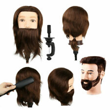 MALE 100% Real Human Hair Hairdressing Mannequin Head Salon Training Model Clamp