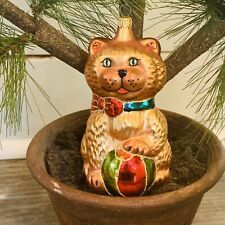 """Vintage Glass Cat with Ball Christmas Tree Ornament Columbia 5"""" Tall"""
