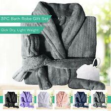 3PC Quick Dry Microplush Bath Robe Men Women Unisex Bathrobes Sleepwear w/ Bonus