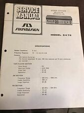 Original Soundesign Model 6472 AM/FM Receiver 8-Track Service Manual