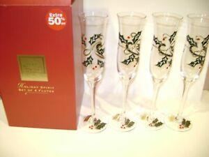 Lenox Holiday Spirit Flutes 4 pc Christmas Set 305932 New in Box - Free Ship