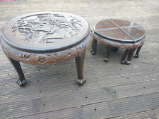 Antique/Vintage Hard Wood Hand Made Carved Round Coffee Table + 4 Stools
