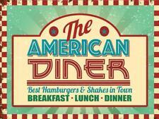 American Diner Breakfast Lunch Dinner Vintage Metal Sign Plaque Kitchen Bar Deco