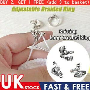 UK Adjustable Ring Knitting Kit Finger Guides Needle Crochet Loop Thimble Tool