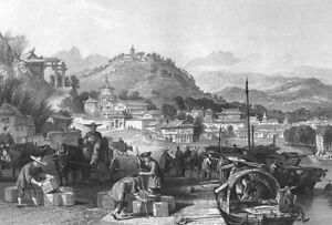 China, LOADING GREEN TEA ON JUNK BOATS SHIPS HARBOR ~ 1842 Art Print Engraving