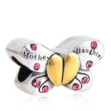 Madre hija Mariposa Genuino 925 plata encanto Fit europeo