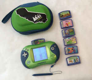 Leap Frog Leapster 2 Handheld System Case 7 Games Blue/Green