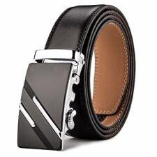 a9b0b6c2c101 Men s Genuine Leather Ratchet Business Belt Automatic Buckle Black Strap  Jeans