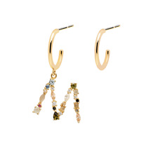 925 Sterling Silver letter M 18 K Gold Plated Earring
