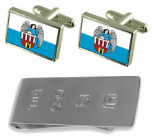 Torun City Poland Flag Cufflinks & James Bond Money Clip