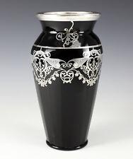 Art-Deco Rockwell Sterling Silver Overlay Black  Art Glass Vase Foliate Scrolls