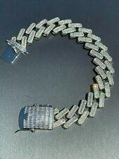 Men's 18mm Baguette Prong Cuban Bracelet Solid 925 Sterling Silver FULLY ICED