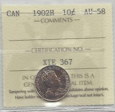 **1902H**, ICCS Graded Canadian,  10  Cent, **AU-58**