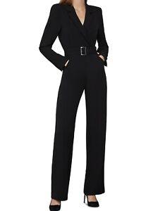NWT $338 BCBG MAXAZRIA Belted Tailored Notch Lapel Jumpsuit Black XS EVA9251766