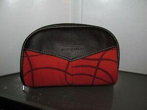 vintage IBERIA AIRLINE SPAIN amenity kit bag travel dopp makeup holder orange